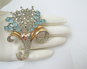 Boucher Sterling Silver & Gold Flower Brooch.  Aqua Blue Crystal Rhinestone Lily Pin. 1940s Designer Costume Jewelry. Bridal Wedding Jewelry