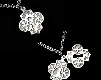 Sterling Silver Escutcheon Necklace - Ornate Keyhole With Hidden Cat in a Window - PEEPING TOM