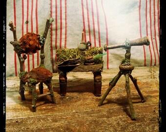 Faery Astronomer, miniature faery telescope, fae chair, faery writing desk, Custom Order, fairy furniture, astronomy miniature,
