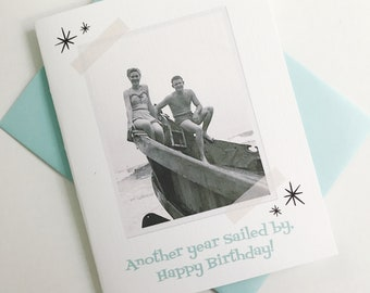 Another Year Sailed By, Happy Birthday Photo Card. Retro Vintage Photo Card. Rockabilly Gift. Funny Birthday Card. Birthday Gift for Her