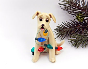 Labrador Retriever Yellow Porcelain Christmas Ornament Figurine Lights Clay