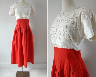 Vintage 1980s garden party dress, vintage spring summer dress size small