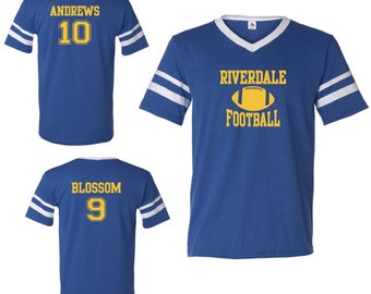 Riverdale Football Jersey Sports V-Neck Jersey Archie Andrews 10 Jason Blossom 9 River Vixens Football Season Captain South Serpents
