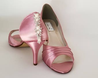 Dusty Rose Bridal Shoes Dusty Rose Wedding Shoes with Crystal and Pearl Back Design or PICK FROM 100 COLORS Dusty Rose Bridesmaid Shoes