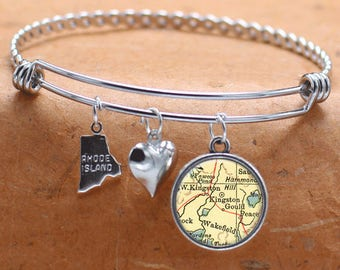 Kingston Rhode Island Map Charm Bracelet State of RI Bangle Cuff Bracelet Vintage Map Jewelry Stainless Steel Bracelet Gifts For Her