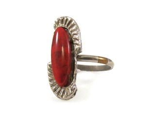 Red Jasper Ring Adjustable Ring Vintage Ring Silver Tone Ring Southwestern Style Southwestern Ring Red Stone Red Ring Statement Ring