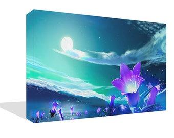 Landscape Purple and Teal Field Midnight Flowers Print