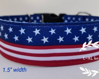 Large breeds - American flag dog collar