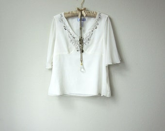 Flowy Boho Gypsy Embellished and Embroidered Chiffon Short Sleeve Sheer White Blouse, V Neck White Top, with Sequins and Beading, Large Size