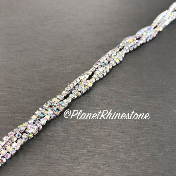 Aurora Borealis (AB) Thin Twisted Rhinestone Trim #T-3