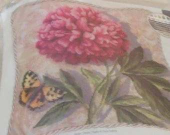 """NEW Dimensions Pink PEONY Flower NEEDLEPOINT Kit 14"""" X 14""""  Butterfly  # 71-20077"""