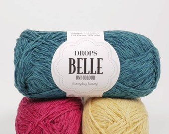 DROPS Belle, Cotton Linen Viscose yarn, Crochet yarn, Knitting yarn, DK yarn, Worsted yarn, Summer knitting, Summer fiber, Drops yarn
