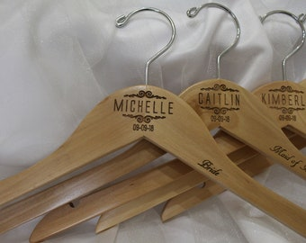 Set of 3 Wedding Hangers, Personalized Hangers, Bridal Hanger, Wedding Party Gift, Mrs Hanger, Bridesmaid Gift, Wooden Engraved Hanger