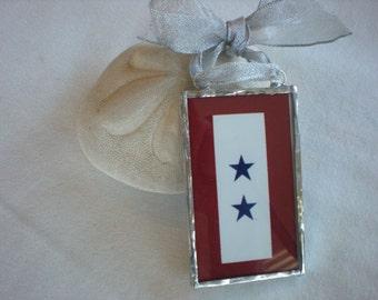 Blue Star Banner Ornament- 2 stars