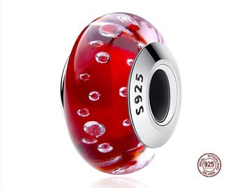 RED MURANO GLASS Bead Charm, Authentic 925 Sterling Silver, Fit Famous Pandora Snake Chain Charm Bracelets, DiY Jewelry, Large Hole