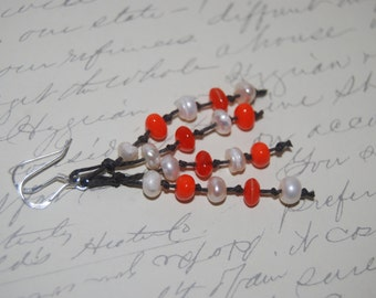 Freshwater Pearl, Orange Chips Glass on Brown Cord Long Dangled Earrings