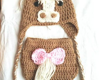 Crochet horse hat and diaper cover