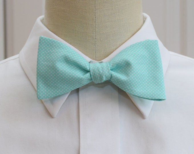 Men's Bow Tie, aqua with white pin dots, wedding bow tie, pale blue bow tie, groom bow tie, groomsmen gift, wedding party tie, tux accessory