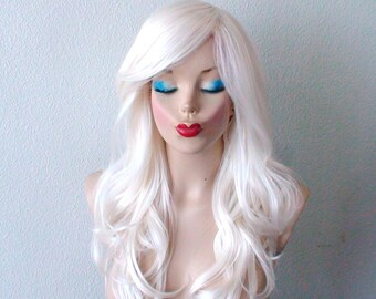 White wig. Lace front wig. Snow white wig. Long wavy hair wig. Durable heat friendly synthetic hair wig for everyday wear or Cosplay.