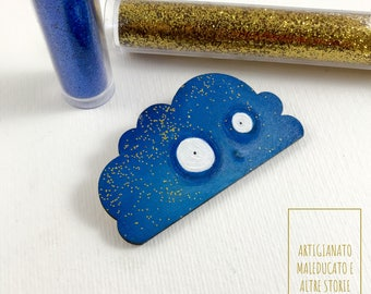 Ble cloud brooch, starry night brooch, Cloud shaped pin, Lovely Funny pin, gold and blue accessories, sparkling jewelry , gift for teenager