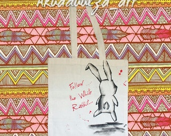 Follow the white rabbit / alice in wonderland / tote bag /hand painted  canvas bag