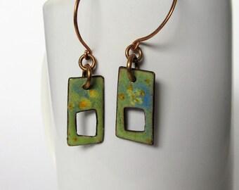 Enameled Copper Earrings | Impressionist Earrings | Hand Formed Ear Wires | Torch Fired Enamel | Spring Jewelry | Artisan Enamel Earrings