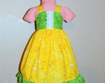 Yellow and lime green floral Spring Summer Easter Dress Ready to Ship Size 5