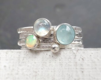 Aquamarine, Moonstone and Opal Stacking Rings with Dotted Ring, Hammered Silver Stacking Rings, Polished Silver Pastel Gemstone Stack