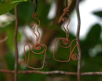 Coffe Mug Copper Wire Earrings