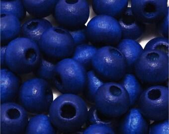 Set of 100 round wood beads 6mm blue Ultramarine