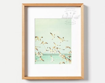 Ocean print PRINTABLE art,seagulls print,turquoise art,beach art,beach print,trendy art,bird print,nursery printables,nursery art,nautical