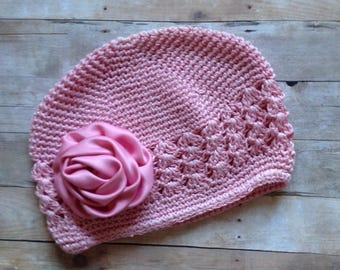 Dusty Rose Knit Hat with Pink Satin Rosette by Cheryl's Bowtique, cap, beanie, photo, pageant, birthday, flower, pink, toddler, clothing