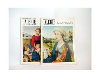 Vintage Art prints Books, renaissance books Set ofTwo/ Old Masters Paintings by Raffael, Van der Weyden