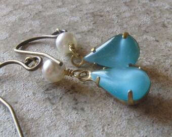 Aqua dangle earrings - vintage moonstone glass - brass earrings