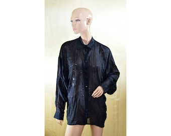Vintage women top blouse silk cotton black shirt transparent