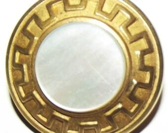 Antique Button ~ Metal Button Pearl Center ~ Paris Back Metal Button Greek Key Border MOP Center