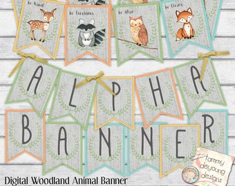 Woodland Animal Banner, Digital Alphabet Garland Woodland Baby Shower Bunting, Nursery Decor, party decoration Fox Deer Raccoon Owl Pennants