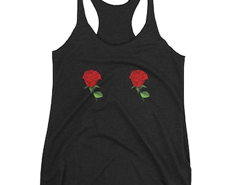 Rose Tits Boobies Shirt - Roses Shirt - Flower Shirt - Rose Tshirt - Red Rose Shirt - Floral Shirt