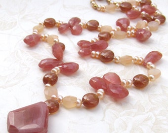 Rhodocrosite necklace, handmade pearl and peach moonstone hand knotted on silk necklace-OOAK