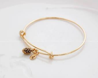 Pine Cone bracelet, Personalized bracelet, initial bracelet, gold pine cone, Leaf initial, Personalized bangle, Bridesmaid gift, rose gold