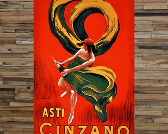 Asti Cinzano Vintage Liquor Ad, Champagne Ad, Vintage Art,  Giclee Art Print, fine Art Reproduction