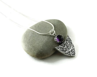 Silver gemstone necklace - Windswept - sterling silver and amethyst As seen on The Vampire Diaries Season 7 Episode 3
