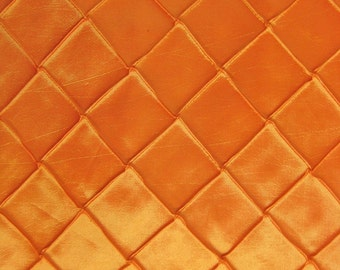 "Checkered Taffeta Fabric - ORANGE - Pintuck Sold By The Yard 60"" Width"