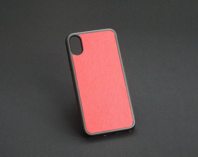 Apple iPhone X 10 - Jimmy Case - Genuine Kangaroo Leather Handmade iPhone Protective Rubber Phone Case - Red