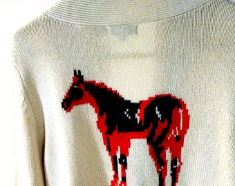 Equestrian SWEATER . Beige Cardigan w horse on Back sz L 90% merino wool 10pct Cashmere