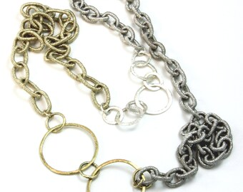 "Necklace, Gold and Silver Metallic Woven Silk Cord w/Gold and Silver Overlay Rings Chain Necklace 31"",  Artisan Designed MAE jewelry"