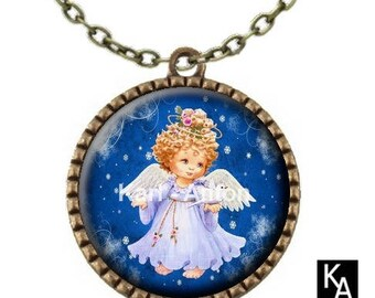 Bronze necklace with round pendant + chain pattern Christmas Dove (658)
