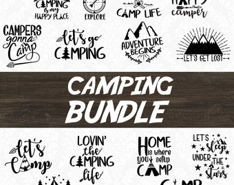 Camper SVG - Happy Camper SVG - Camping SVG - Camping Bundle - Camping Clip art - Camping Life - Adventure svg - Summer svg - Cutting file