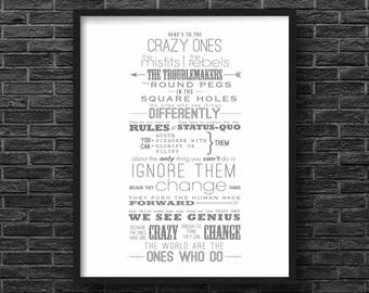 Here's to the Crazy Ones, Steve Jobs Inspirational Quote