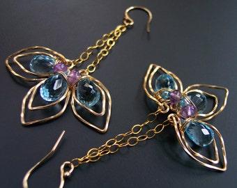 Sky Blue Topaz Chandelier Earrings, Mother's Day Flowers, Gift for Her, Gold Earrings, Purple Amethyst February Birthday Gift